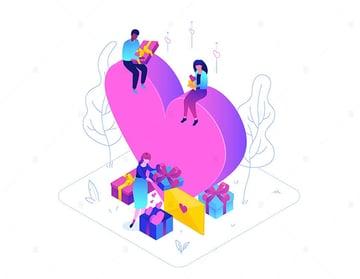 Valentines Day - Isometric Heart Illustration Vector