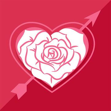 Love Rose White Heart Graphic