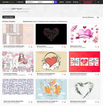 Heart graphics on Envato Elements
