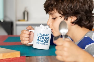 Sublimation Transfer Mockup of Kid with Mug from Placeit