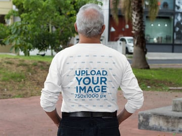 Back of an Elderly Man Wearing a Long Sleeve Tee Mockup at a Park