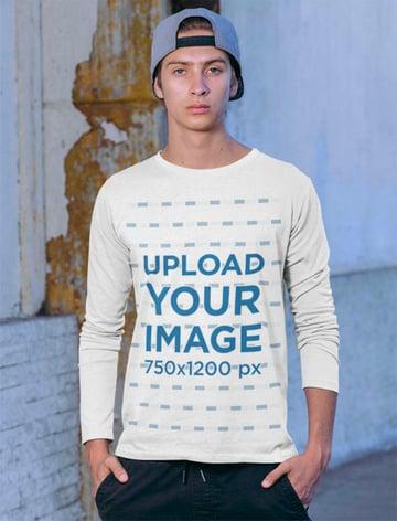 Long Sleeve Tee Mockup Featuring a Man in an Urban Look