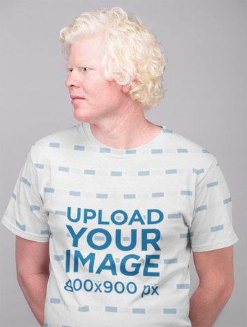 Sublimated T-Shirt Mockup of a Man in Studio