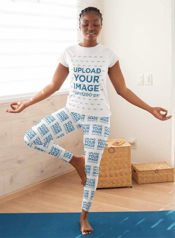 T-Shirt Mockup of a Woman Wearing Leggings and Doing a Tree Pose