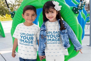 Sublimated Tee Mockup Featuring Two Smiling Kids at a Playground