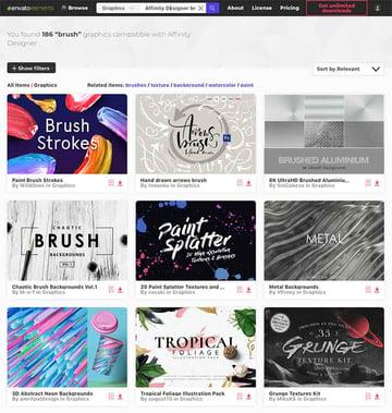 Affinity designer brushes on Envato Elements