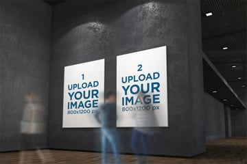 Wall Poster Mockup of Two Exhibition Posters