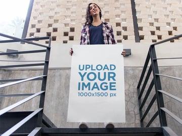 Printed Poster Mockup of Woman on Stairways