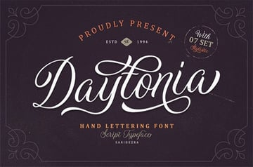 Daytonia - Hand Lettering Script Font with Tails