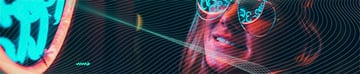 SoundCloud Banner Size Template with Singer Neon Lights