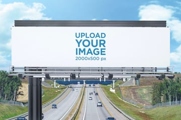 Outdoor Billboard Mockup Placed over a Highway