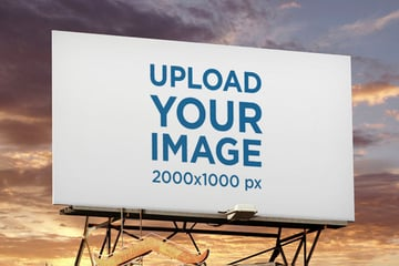 Billboard Mockup Template Featuring a Sunset Sky