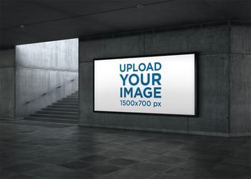 Subway Billboard Mockup Featuring Underground Stairs