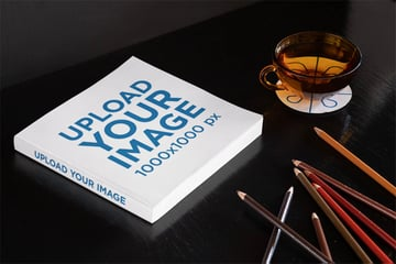 Book Cover Mockup on a Dark Surface