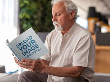 Elderly Man Square Book Cover Mockup