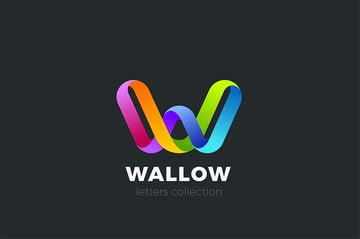 Letter W Logo Design 3D Ribbon Style