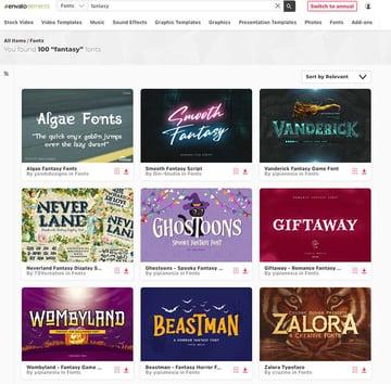 Unlimited Fantasy Font Downloads at Envato Elements
