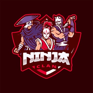 Logo Maker for a Gaming Squad with Ninja Illustrations