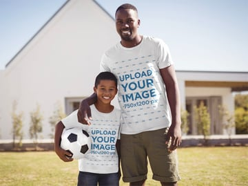 Father and Son White T-Shirt Mockups
