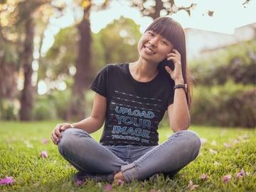 Woman in Black T-Shirt Mockup