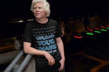 Man at Night with Black T-Shirt Mockup Template