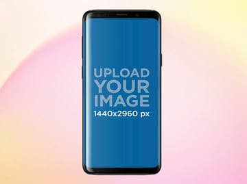 Android Phone Mockup Against Coloured Background