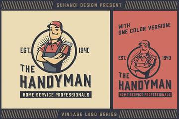 Vintage Handyman Mascot Logo