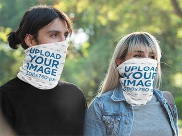 Tubular Bandana Mockup Featuring a Man and a Woman