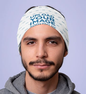 Mockup of a Man Wearing a Tubular Bandana over His Head