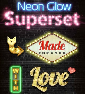 Neon Glow Photoshop Text Styles Pack