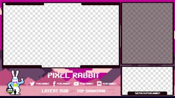 Free Twitch Overlay OBS with an 8-Bit Rabbit Illustration
