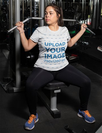 White Shirt Womens Plus Size Mockup Featuring a Woman at a Gym