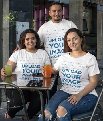 Plus Size T-Shirt Mockup Featuring Three Friends Having Drinks