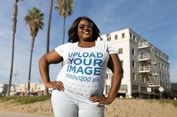 T-Shirt Mockup Size Template of Woman Near Palm Trees