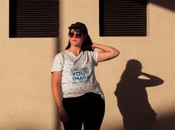 T-Shirt Mockup Size Template Hipster of Woman Wearing a Hat and Sunglasses