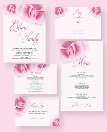 Rose Flower Wedding Invitation Suite