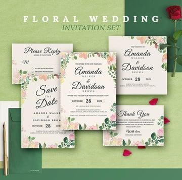 Rustic Floral Wedding Invitations Print Templates Set