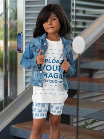 Kids White T-Shirt Mockup with Bike Shorts Mockup