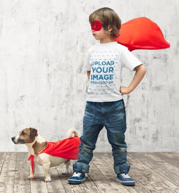 Youth Shirt Mockup with a Little Boy Playing Superhero with His Dog