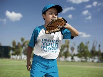Kids Shirt Mockup with Boy Wearing a Raglan Tee
