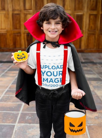 Kids White T-Shirt Mockup with a Happy Kid in a Halloween Costume