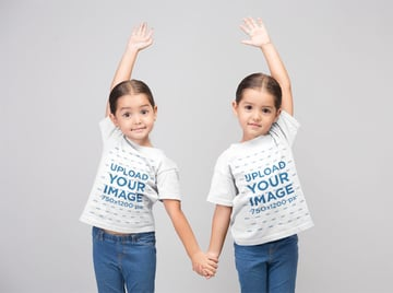 Youth Shirt Mockup with a Two Little Girls