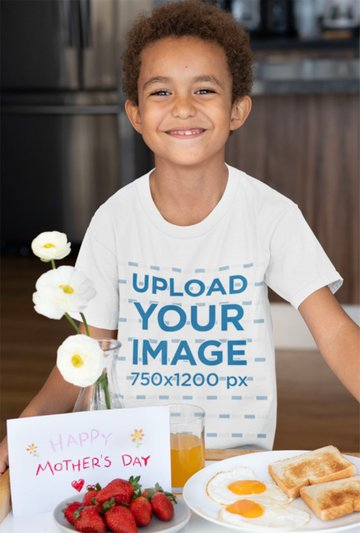 Kids Shirt Mockup Featuring Child Serving Breakfast to His Mom