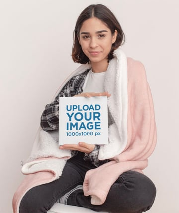 Square Hardcover Book Mockup Featuring a Woman Posing