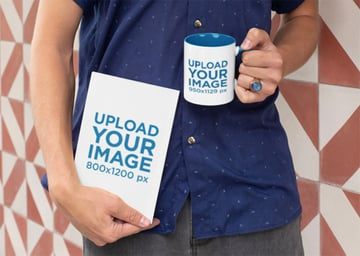 Book Cover Mockup and Man with Mug Mockup