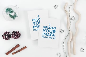 Blank Postcard Mockup Surrounded by Winter Decorations
