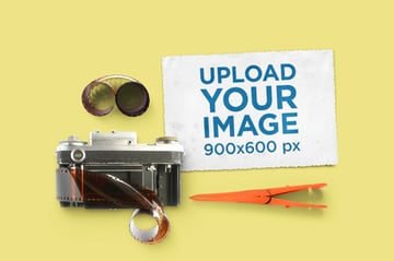 Vintage Postcard Mockup Generator Featuring an Old Camera