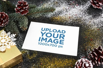 Blank Postcard Mockup Featuring Glittery Christmas Ornaments