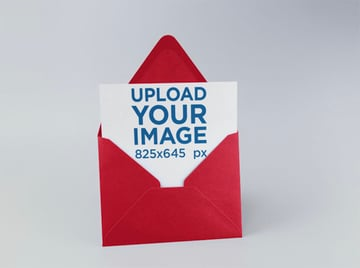 Blank Postcard Mockup with Envelope Template Standing