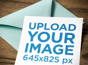 Postcard Design Mockup with Light Green Envelope